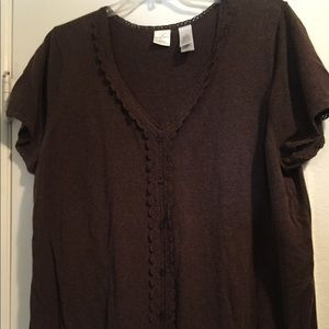 Sweaters - Sweater brown with lace slimming lines 3X